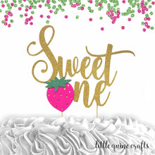 "Load image into Gallery viewer, 1 pc ""Sweet One"" Strawberry script Gold Green Glitter Cake Topper for first Birthday Baby girl fruit summer cake smash party"
