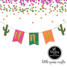 Load image into Gallery viewer, 1 pc UNO or ONE Gold Glitter Cactus Fiesta High Chair Banner Party Photo prop Decoration First Birthday Cake Smash