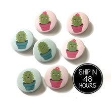 Load image into Gallery viewer, 10 pcs Cute Cactus Team Pink Team Blue badge pin pinback button baby shower gender reveal birthday party favors gift boy girl