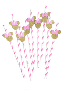 12 pcs Minnie Mouse head pink and gold theme chevron paper straws first birthday toddler girls baby shower