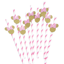 Load image into Gallery viewer, 12 pcs Minnie Mouse head pink and gold theme chevron paper straws first birthday toddler girls baby shower