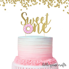 Load image into Gallery viewer, 1 pc Sweet One Donut DOUBLE SIDED Gold Glitter Cake Topper for 1st first Birthday Baby Toddler girl boy summer Party donut grow up theme