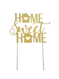 1 pc Home Sweet Home Cake Topper Gold Black glitter Housewarming party new home party props