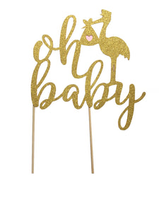 1 pc oh baby stork bird DOUBLE SIDED gold glitter cake topper party theme baby shower boy girl gender reveal pink ivory blue spring summer