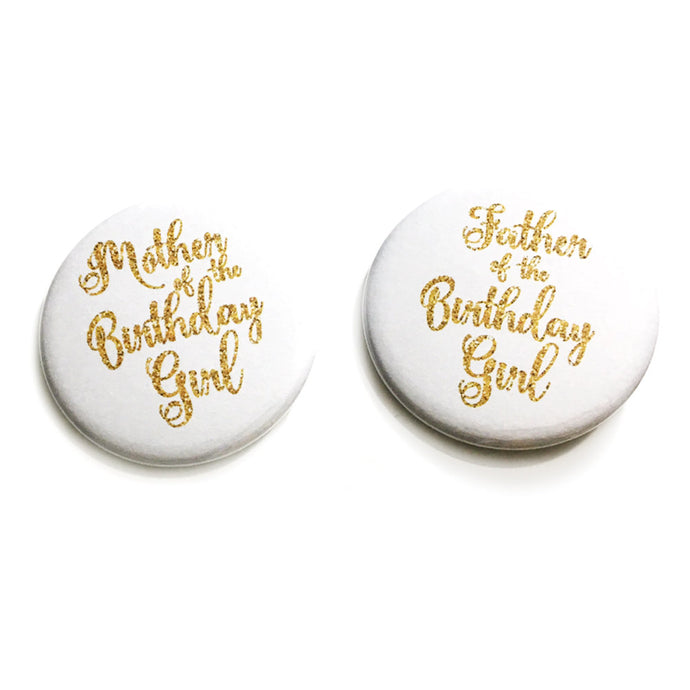 1 or 2 piece Mother Father of the Birthday Girl Gift Favors badge pin 2.25