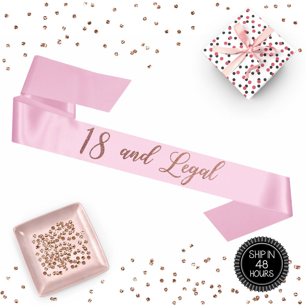 1 piece 18 and Legal script sash luxurious satin rose gold glitter for birthday party gift ready prop