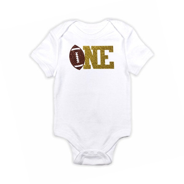 1 pc one Football brown and gold glitter 100% COTTON short sleeve babysuit bodysuit for first birthday boy cake smash outfit touch down