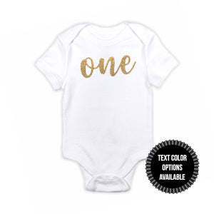 1 pc one 100% COTTON short sleeve baby body suit for first birthday outfit boy girl champagne gold silver rose gold black fuchsia glitter