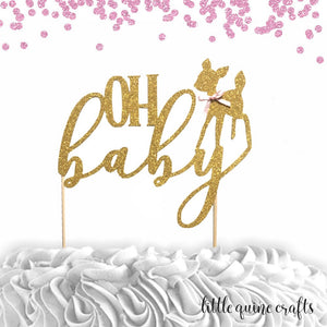 1 pc OH baby deer fawn script Gold Glitter Cake Topper for baby shower boy girl woodland animal