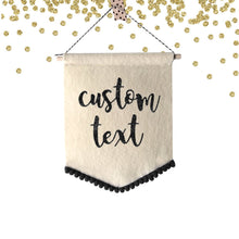 Load image into Gallery viewer, 1 pc Custom Text Personalized Fabric Felt Pennant Flag Party Nursery Room Decor Motivational Quote Photo Backdrop first Birthday cake smash
