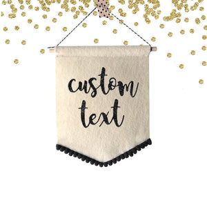 1 pc Custom Text Personalized Fabric Felt Pennant Flag Party Nursery Room Decor Motivational Quote Photo Backdrop first Birthday cake smash