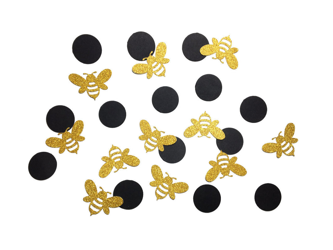 100 pcs Gold Glitter Bee and black circle confetti mommy mom bride to bee baby shower birthday table party decoration