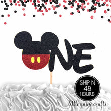 Load image into Gallery viewer, 1 pc ONE Mickey Mouse Head Red Black Glitter Cake Topper for first Birthday Baby boy