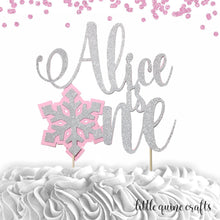 Load image into Gallery viewer, 1 pc custom personalize is one Snowflakes pink blue silver gold glitter cake topper party theme first birthday boy girl winter wonderland