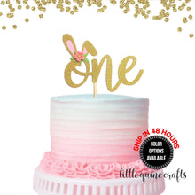 Load image into Gallery viewer, 1 pc Flowers Bunny Ear ONE Gold Glitter Cake Topper for Birthday Baby Girl Some Bunny is One theme