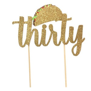 1 pc taco bout thirty forty fifty sixty seventy cake topper gold glitter fiesta mexican party theme birthday spring summer cinco de mayo