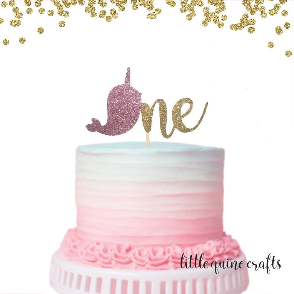 1 pc one Narwhal Gold Blue Pink Glitter Cake Topper for first Birthday Toddler Boy Girl whimsical