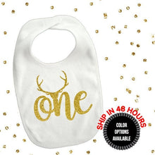 Load image into Gallery viewer, 1 piece one deer antler bib toddler boy girl for first birthday gift cake smash photo prop boho theme