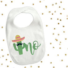 Load image into Gallery viewer, 1 piece uno cactus mustache bib toddler boy girl for first birthday gift cake smash photo prop fiesta party theme