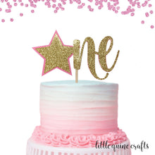 Load image into Gallery viewer, 1 pc one star pink gold light blue silver Twinkle Twinkle little star cake topper first birthday boy girl toddler