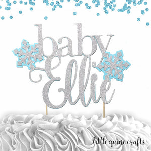 1 pc custom personalize baby name Snowflakes pink blue DOUBLE SIDED silver gold glitter cake topper baby shower boy girl winter wonderland