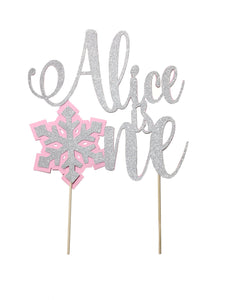 1 pc custom personalize is one Snowflakes pink blue silver gold glitter cake topper party theme first birthday boy girl winter wonderland