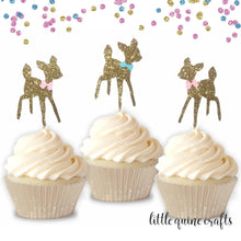 Load image into Gallery viewer, 12 pcs baby deer fawn pink blue bow woodland DOUBLE SIDED Gold Glitter Cupcake dessert Topper Birthday girl boy baby shower gender reveal