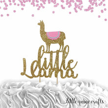Load image into Gallery viewer, 1 pc little Llama cake topper for birthday baby shower gold pink Mexican fiesta theme