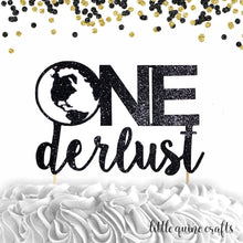Load image into Gallery viewer, 1 pc One derlust Onederlust DOUBLE SIDED black glitter cake topper for first birthday cake smash wanderlust time travel party theme