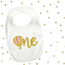 Load image into Gallery viewer, 1 pc one hot air balloon baby bib for first birthday cake smash prop toddler boy girl up up and away theme pink and gold glitter