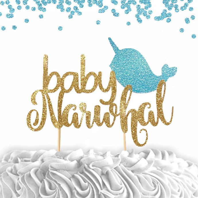 1 pc baby narwhal cake topper blue pink gold glitter for baby shower gender reveal baby girl boy