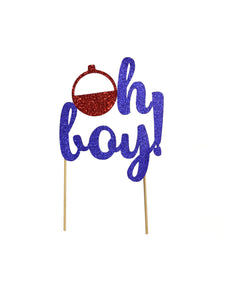 1 pc oh boy! bobber cake topper baby shower baby boy gone fishing party theme red and blue glitter