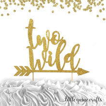 Load image into Gallery viewer, 1 pc TWO WILD ARROW script bohemian boho tribal native Theme Gold Glitter Cake Topper for second Birthday