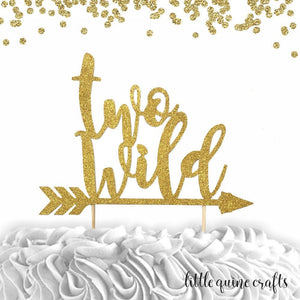 1 pc TWO WILD ARROW script bohemian boho tribal native Theme Gold Glitter Cake Topper for second Birthday