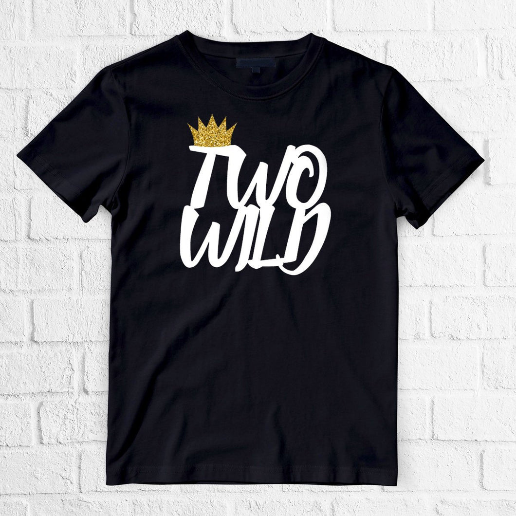 1 pc two wild crown 100% COTTON short sleeve t-shirt for second birthday toddler boy boho native tribal black gold glitter wild things are