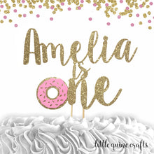 Load image into Gallery viewer, 1 pc custom personalise name is one donut grow up DOUBLE SIDED Gold Silver Glitter Cake Topper Toddler boy girl first Birthday smash cake