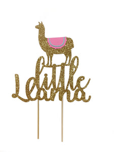 1 pc little Llama cake topper for birthday baby shower gold pink Mexican fiesta theme