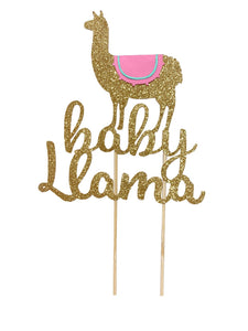 1 pc baby Llama cake topper for baby shower gender reveal pink blue gold silver glitter