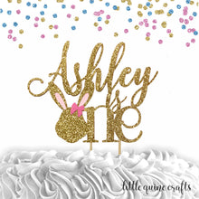 Load image into Gallery viewer, 1 pc custom personalised is one bunny head pink blue silver gold glitter cake topper party theme first birthday boy girl some bunny is one