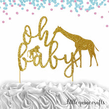 Load image into Gallery viewer, 1 pc oh baby safari animals jungle giraffe monkey cake topper DOUBLE SIDED gold green black silver glitter for baby shower baby girl boy