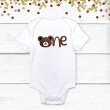 Load image into Gallery viewer, 1 pc one teddy bear 100% COTTON short sleeve baby body suit for first birthday cake smash outfit boy girl brown glitter