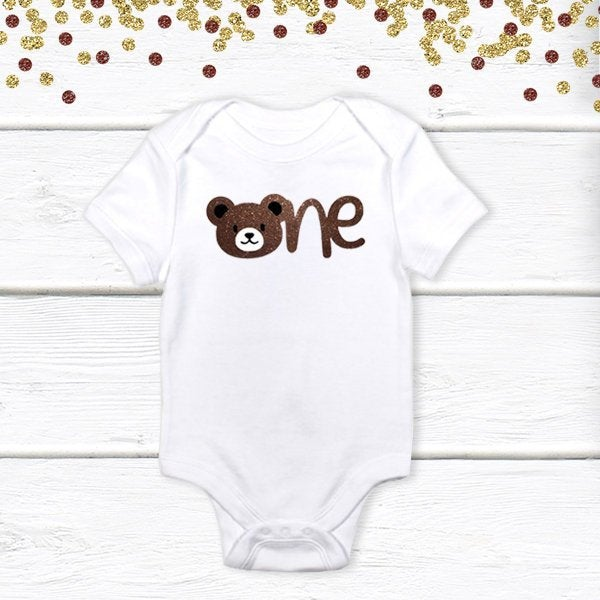 1 pc one teddy bear 100% COTTON short sleeve baby body suit for first birthday cake smash outfit boy girl brown glitter
