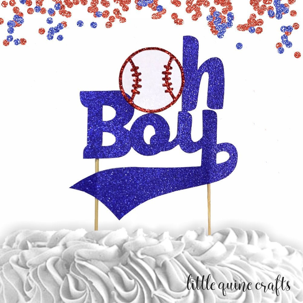 1 pc oh boy baseball sport cake topper baby shower decor baby boy red and blue glitter party prop