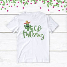 Load image into Gallery viewer, 1 pc taco twosday green cactus sombrero mustache 100% COTTON short sleeve t-shirt for second birthday toddler boy girl fiesta tuesday two