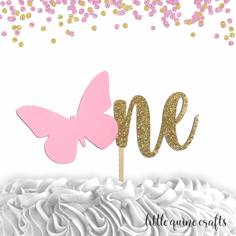 1 pc one two butterfly cake topper green gold glitter party theme first second 1st 2nd birthday girl spring summer garden tea party