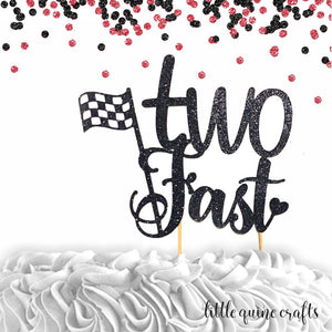 1 pc  Two Fast Race car Racing theme cake topper for second  birthday boy girl birthday prop decor
