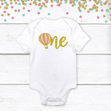 Load image into Gallery viewer, 1 pc one hot air balloon 100% COTTON short sleeve baby body suit for first birthday boy girl champagne gold silver glitter up up away
