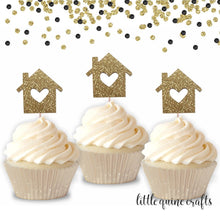 Load image into Gallery viewer, 12 pcs house heart Cupcake Topper Gold black rose gold Glitter for housewarming party home sweet home
