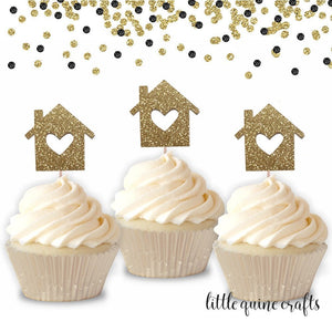 12 pcs house heart Cupcake Topper Gold black rose gold Glitter for housewarming party home sweet home