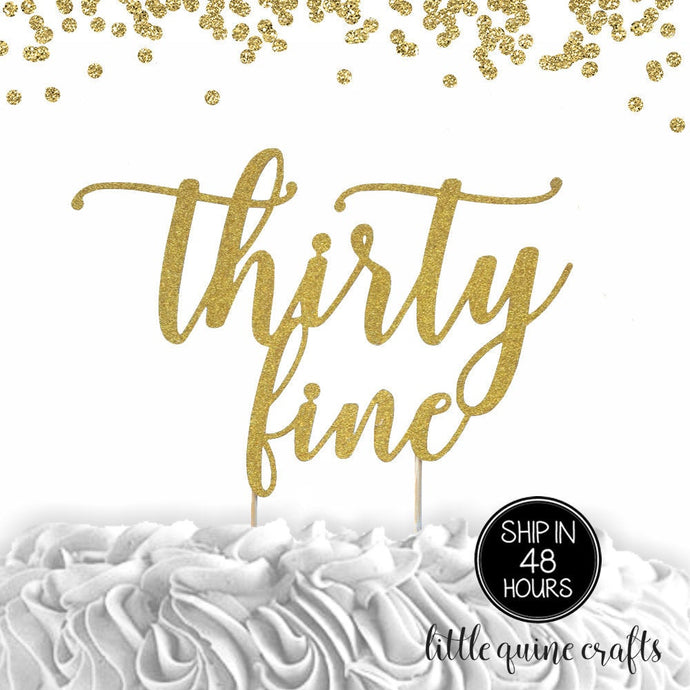 1 pc age thirty fine thirty something birthday script fonts gold black fuchsia rose gold silver glitter cake topper